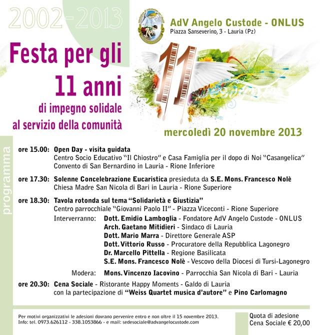 invito iniziativa 20 Nov. AdV Angelo Custode