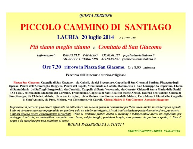 01 Piccolo Cammino Santiago Lauria 2014 PROGRAMMA per web_2