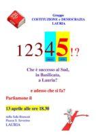 """SALA BRANCATI - LAURIA. Venerdì 13 Aprile 2018 ore 18.00: Conferenza Gruppo """"Costituzione e Democrazia - Lauria"""""""